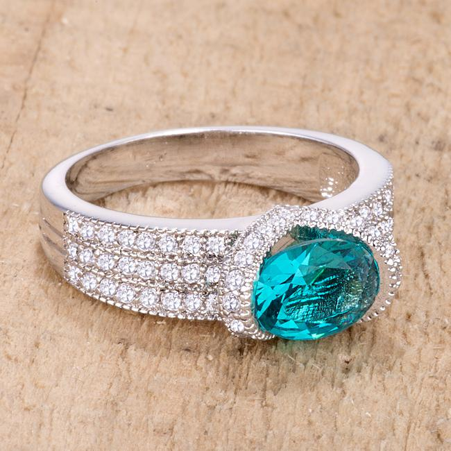 1.6 Ct Aqua Oval CZ Ring - Jewelry Xoxo