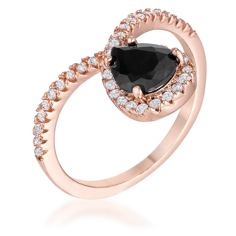 1.5Ct Rose Goldtone Chevron Ring With Onyx CZ - Jewelry Xoxo