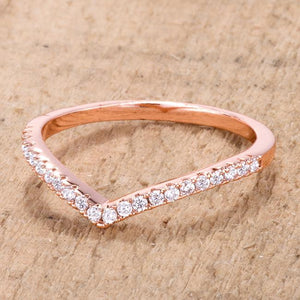 .22Ct Rose Goldtone Chevron Ring with CZ - Jewelry Xoxo
