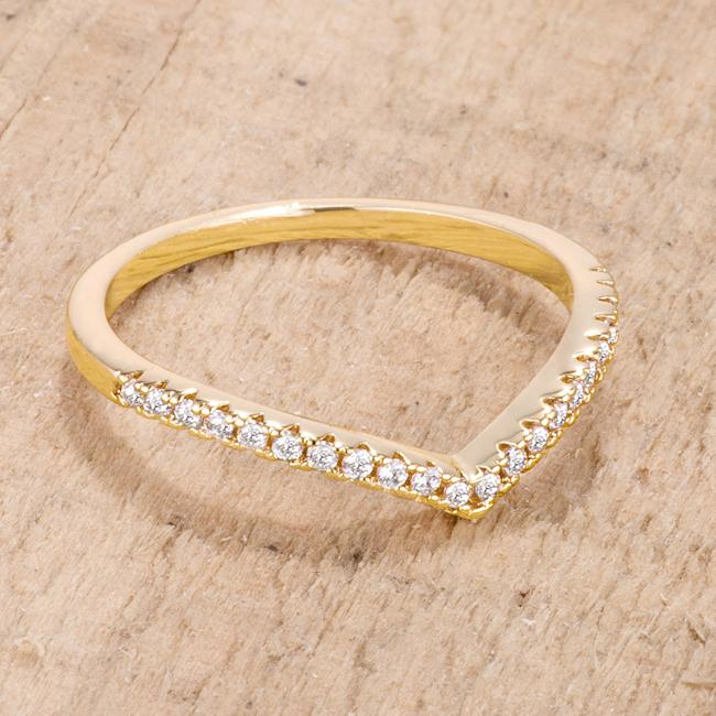 .22Ct Goldtone Chevron Ring with CZ - Jewelry Xoxo