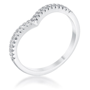 .22Ct Rhodium Chevron Ring with CZ - Jewelry Xoxo