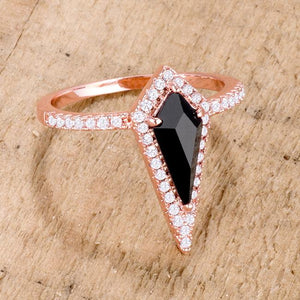 1.4Ct Rose Goldtone Trendy Prism Onyx CZ Ring - Jewelry Xoxo