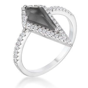 1.4Ct Rhodium Trendy Prism Smokey Topaz CZ Ring - Jewelry Xoxo
