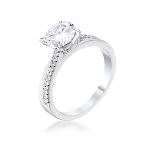 1.4Ct Contemporary Dainty Rhodium Plated Clear CZ Engagement Ring - Jewelry Xoxo