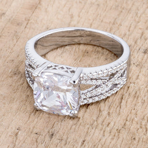 3Ct Elegant Rhodium Plated Criss-Cross Clear CZ Engagement Ring - Jewelry Xoxo