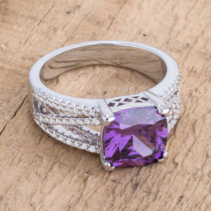 3Ct Elegant Silvertone Criss-Cross Amethyst Purple CZ Engagement Ring - Jewelry Xoxo