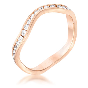 Rose Gold Plated Petite Wavy Channel Set Crystal Stackable Ring
