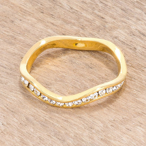 18k Gold Plated Petite Wavy Channel Set Crystal Stackable Ring - Jewelry Xoxo