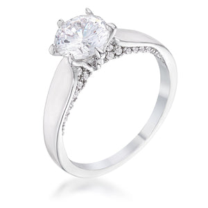1.56Ct Contemporary Rhodium Plated CZ Solitaire Ring - Jewelry Xoxo