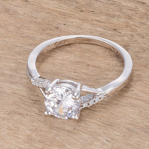 1.3Ct Rhodium Plated Simple Engagement Ring - Jewelry Xoxo