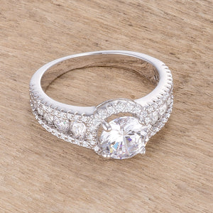 2.1Ct Rhodium Plated Solitaire Engagement Halo Ring - Jewelry Xoxo
