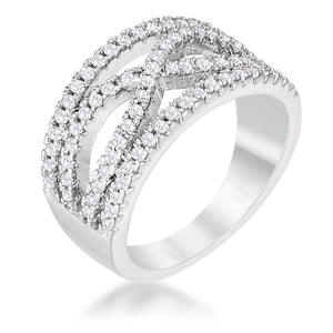 .4Ct Rhodium Plated Classic Twist Wide CZ Ring - Jewelry Xoxo