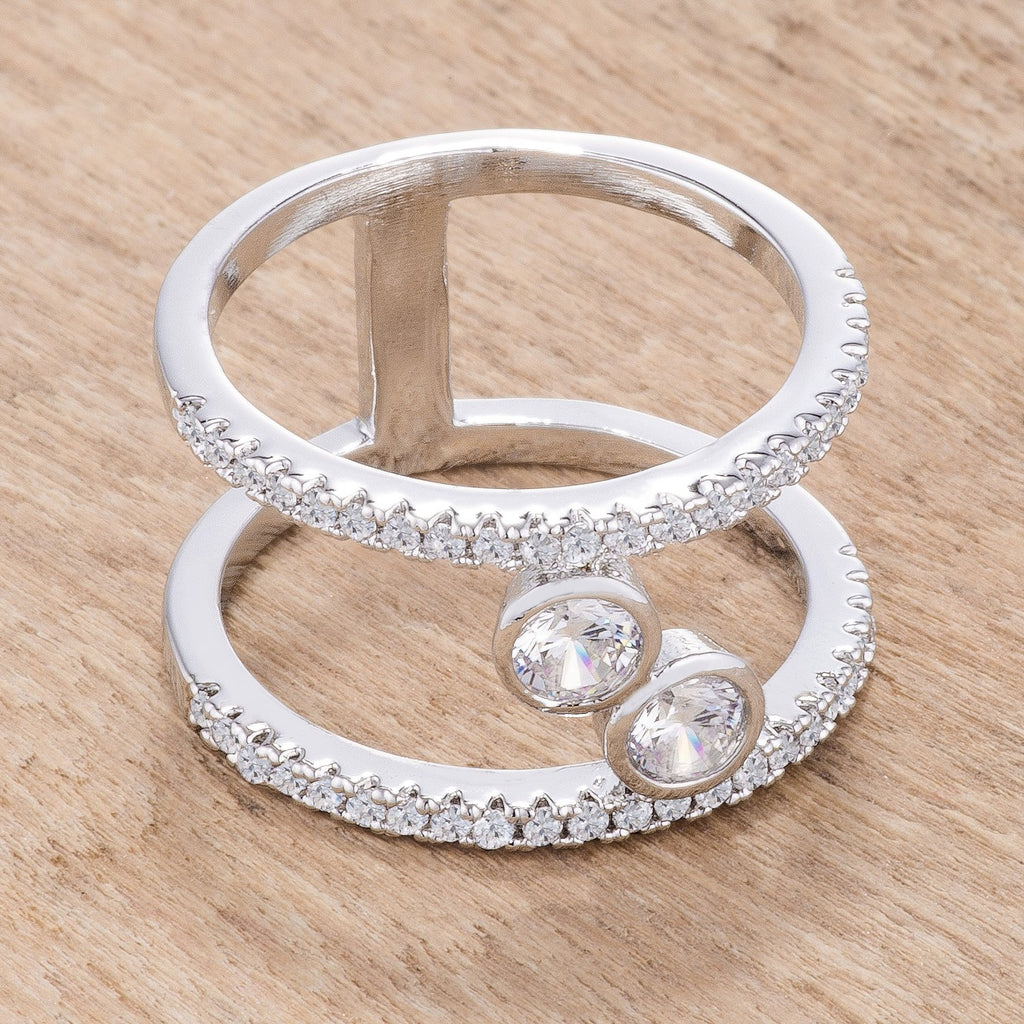 .86Ct Rhodium Plated Floating Bubbles CZ Ring - Jewelry Xoxo