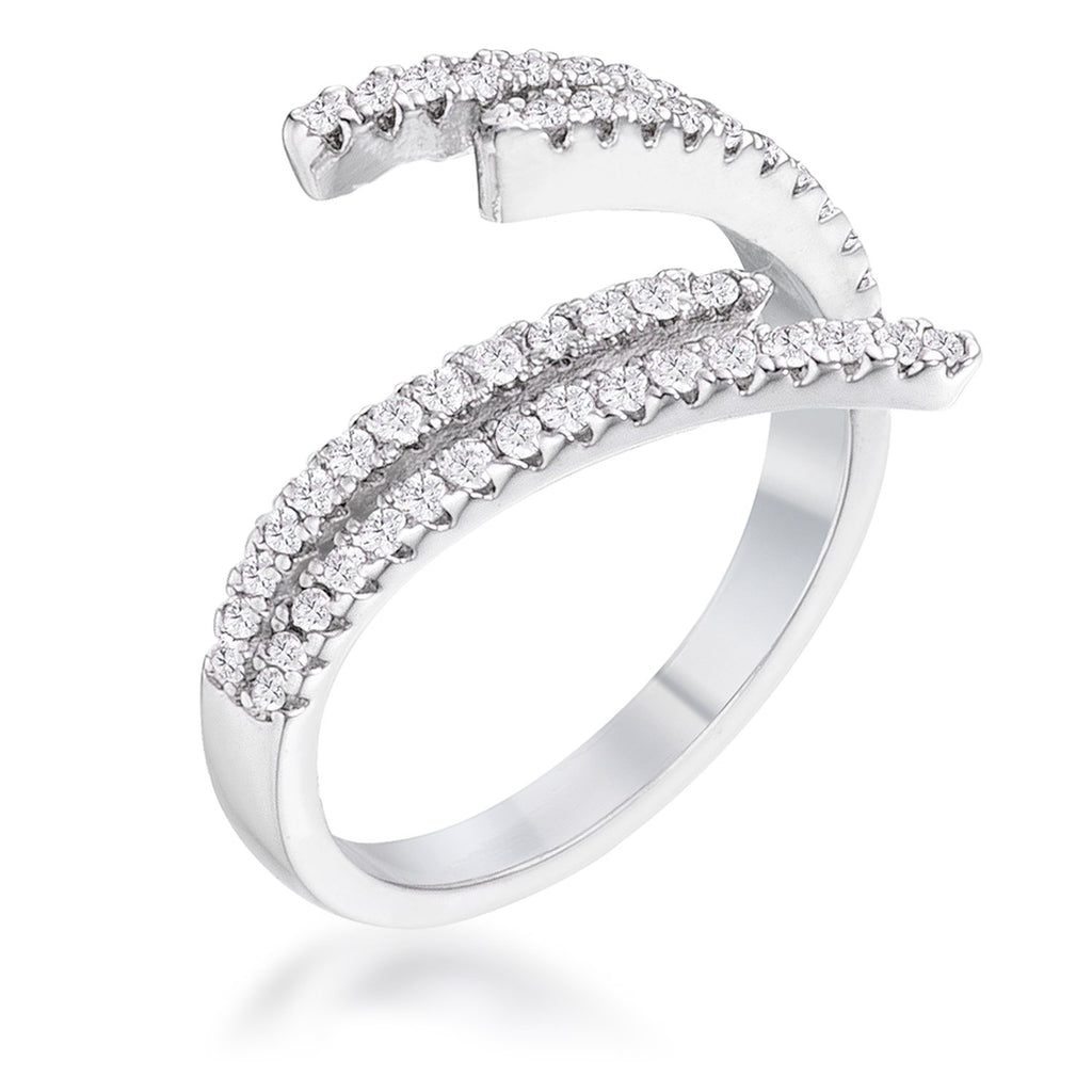 1.12Ct Delicate Rhodium Plated CZ Wrap Ring - Jewelry Xoxo