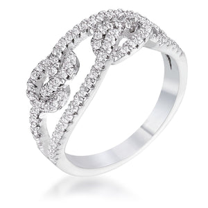 1.15Ct Rhodium Plated CZ Pave Double Knot Ring - Jewelry Xoxo