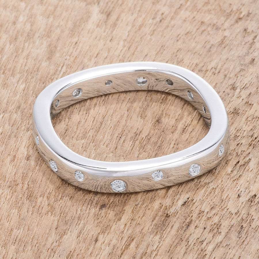 .23Ct Rhodium Plated Cz Speckled Square Shaped Stackable Band - Jewelry Xoxo