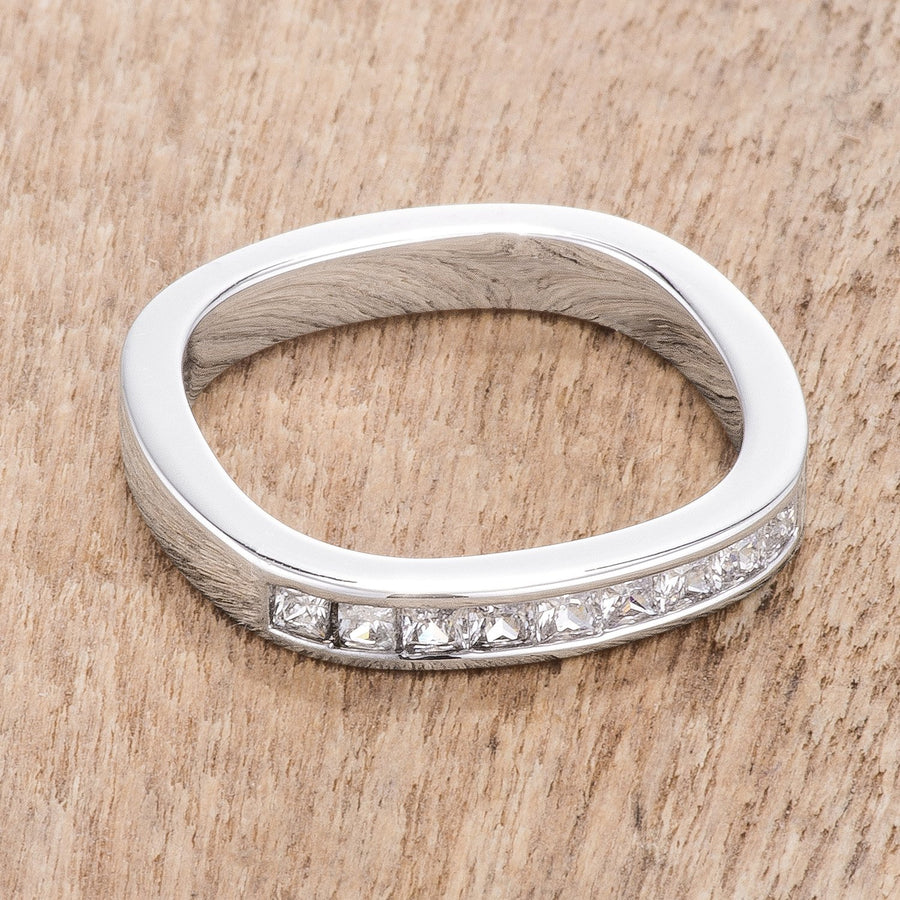 .9Ct Channel Set Princess Cut Rhodium Plated Square Shaped Stackable Band - Jewelry Xoxo