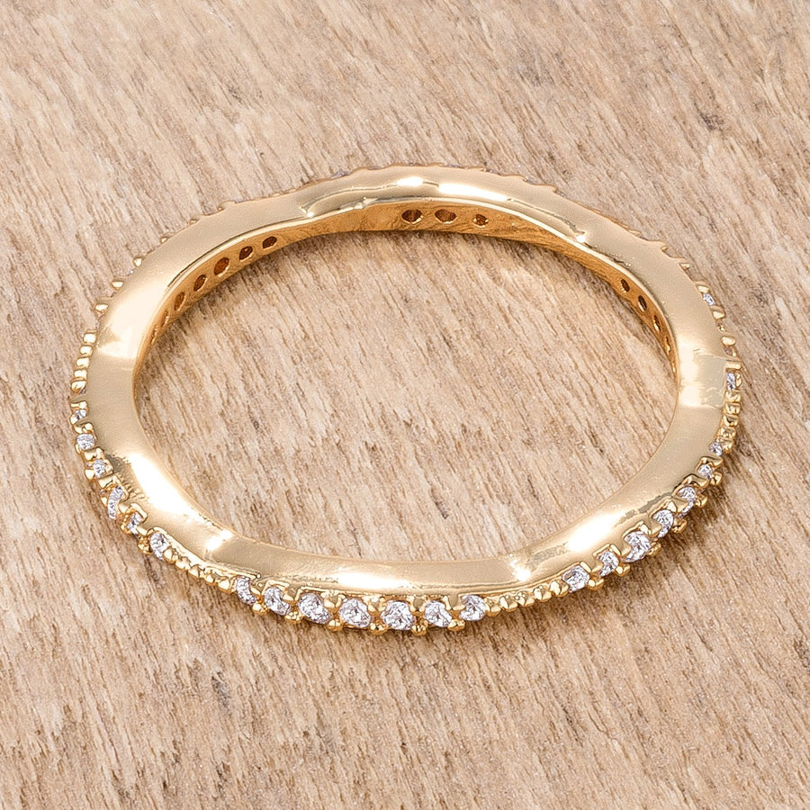 .42Ct Dainty 18k Gold Plated Micro Pave CZ Stackable Eternity Ring - Jewelry Xoxo