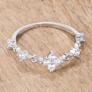 .24Ct Rhodium Plated Clear CZ Mini Floral Half Eternity Stackable Band - Jewelry Xoxo