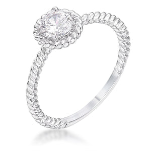 .45Ct Rhodium Plated Mini Twisted Rope CZ Solitaire Ring - Jewelry Xoxo