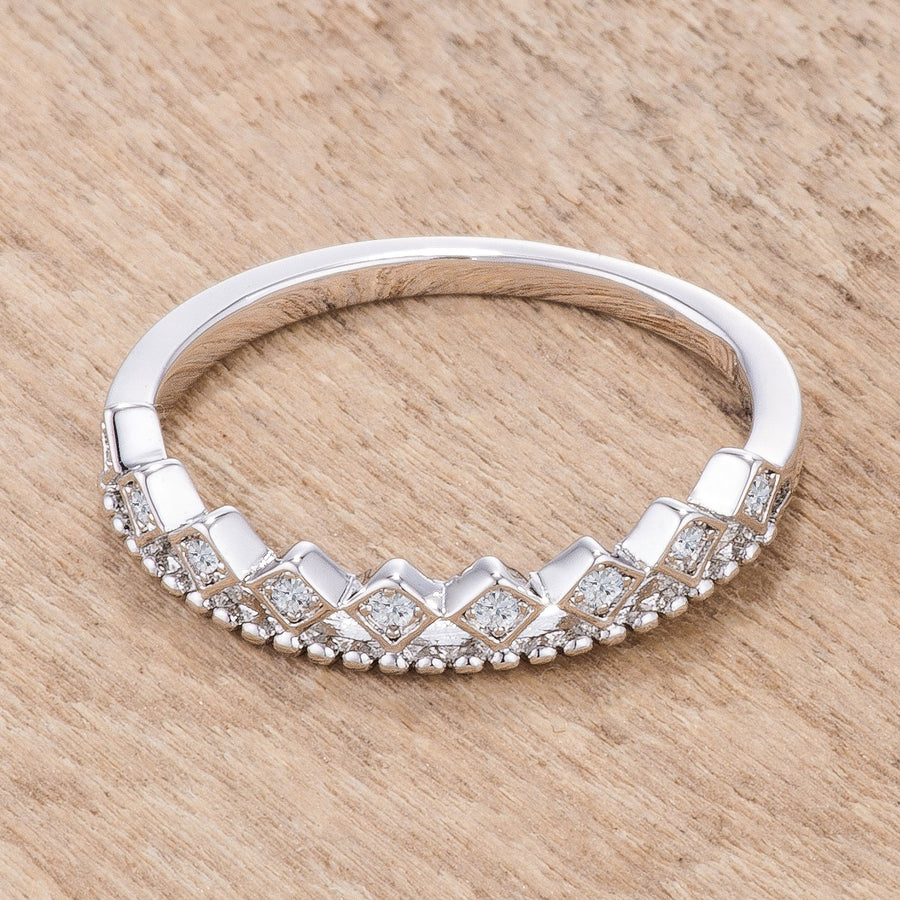 .14Ct Rhodium Plated CZ Mini Crown Stackable Band - Jewelry Xoxo