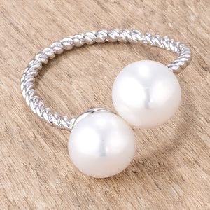 Rhodium Plated Twisted Rope Freshwater Pearl Wrap ring - Jewelry Xoxo