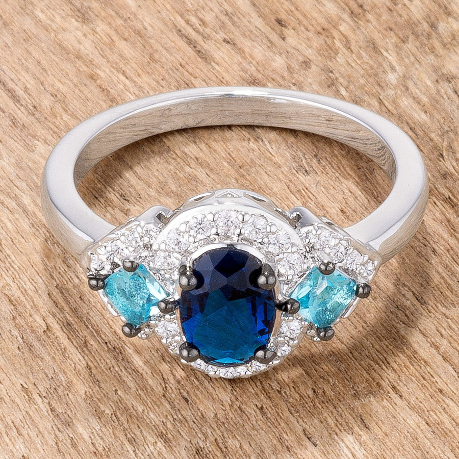 1.3Ct Rhodium and Hematite Plated Shades of Blue CZ Three Stone Engagement Ring - Jewelry Xoxo