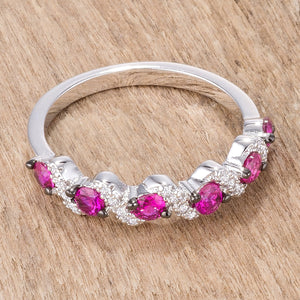.18Ct Rhodium and Hematite Plated S Shape Fuchsia and Clear CZ Half Eternity Band - Jewelry Xoxo