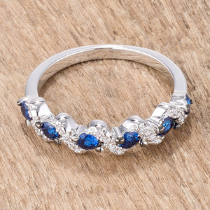 .18Ct Rhodium and Hematite Plated S Shape Sapphire Blue and Clear CZ Half Eternity Band - Jewelry Xoxo