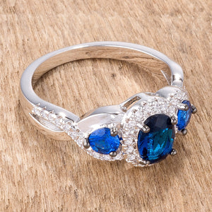 1.43Ct Rhodium & Hematite Plated Sapphire Blue & Clear CZ Three Stone Twisted  Ring - Jewelry Xoxo