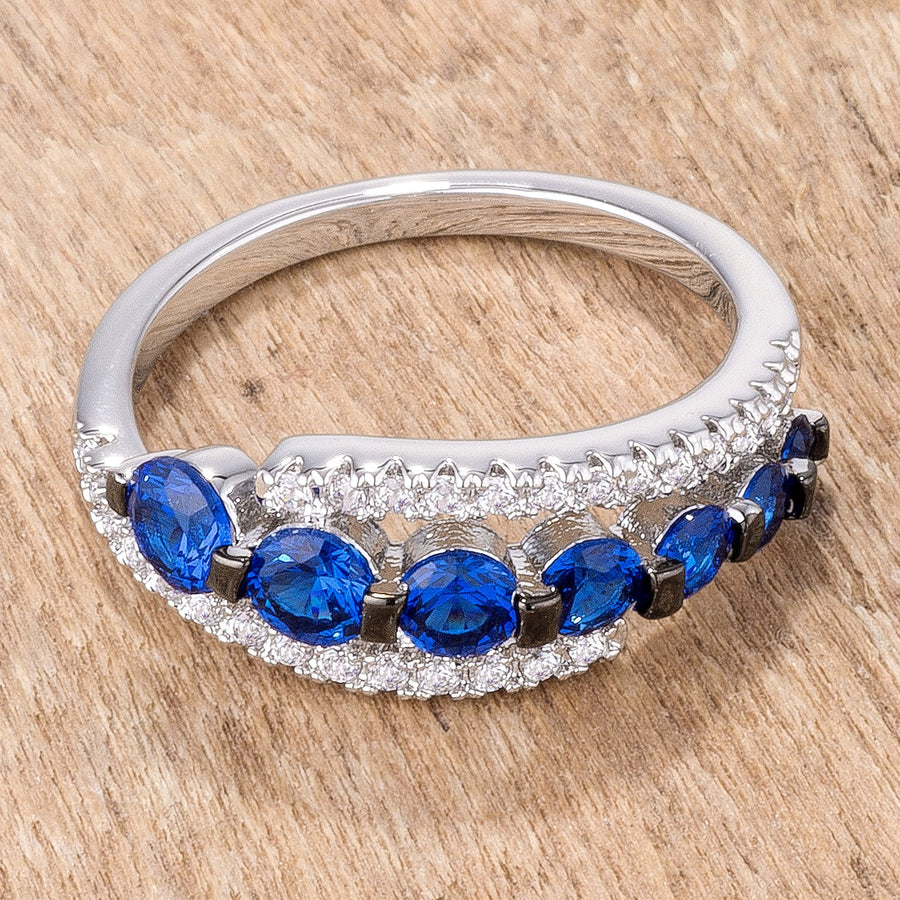 1.06Ct Rhodium & Hematite Plated Graduated Blue & Clear CZ Half Eternity Ring - Jewelry Xoxo