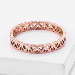 Stainless Steel Rose Goldtone Eternity Hearts Ring - Jewelry Xoxo