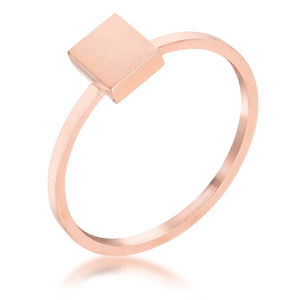 Stainless Steel Rose Goldtone Plated Square Stackable Ring - Jewelry Xoxo