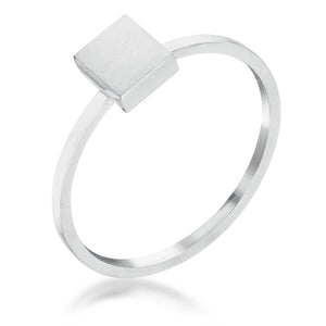 Stainless Steel Square Stackable Ring - Jewelry Xoxo