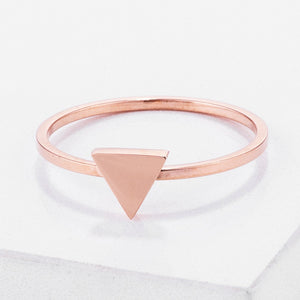 Stainless Steel Rose Goldtone Plated Triangle Stackable Ring - Jewelry Xoxo
