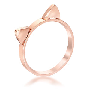 Stainless Steel Rose Goldtone Cat Ear Ring - Jewelry Xoxo