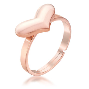 Stainless Steel Rose Goldtone Adjustable Heart Ring - Jewelry Xoxo