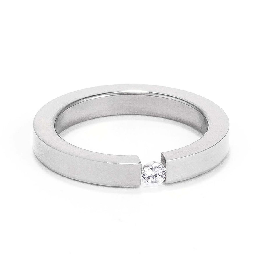 4MM Stainless Steel Floating Solitaire Ring - Jewelry Xoxo