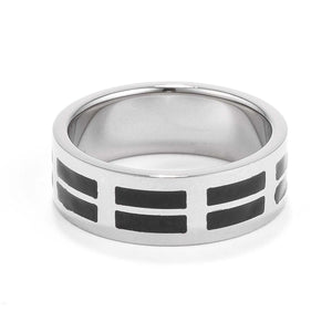 Mens 8MM Stainless Steel and Black Enamel Band - Jewelry Xoxo