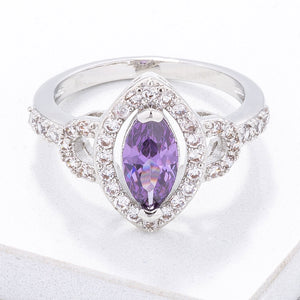 Vintage Purple CZ Halo Ring - Jewelry Xoxo