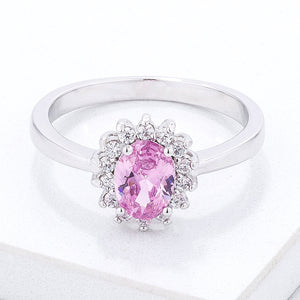 Pink Ice CZ Petite Oval Ring - Jewelry Xoxo