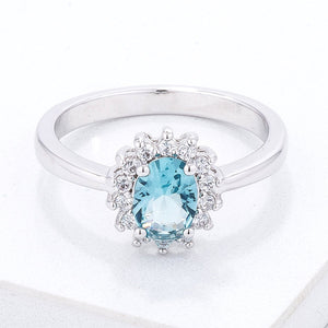 Ice Blue CZ Petite Oval Ring - Jewelry Xoxo
