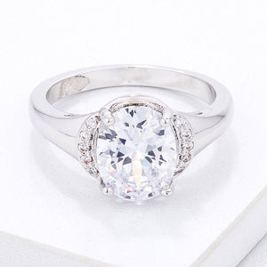 Simple Oval CZ Engagement Style Ring - Jewelry Xoxo