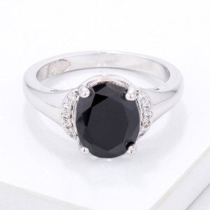Simple Black & Clear CZ Oval Engagement Style Ring - Jewelry Xoxo