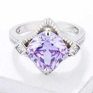 Modern Edgy Lavender CZ Cocktail Ring - Jewelry Xoxo
