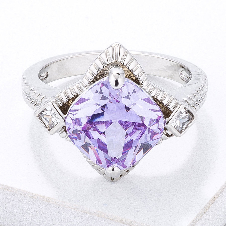 Modern Edgy Lavender CZ Cocktail Ring