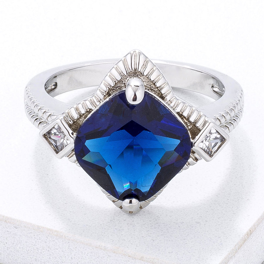 Modern Edgy Royal Blue CZ Cocktail Ring