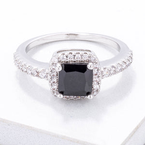 Black & White CZ Princess Halo Ring - Jewelry Xoxo