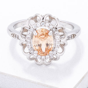 Stunning Champagne Oval Halo Sparkler - Jewelry Xoxo