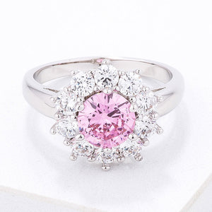 Pink CZ Sunburst Halo Cocktail Ring - Jewelry Xoxo